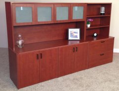 """4-Door Storage Credenza with 71"""" Hutch, Lateral File & Upper Bookcase"""