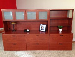 """Triple Lateral File Credenza with 71"""" Hutch and Upper Bookshelf"""