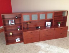 Lateral File Credenzas with Closed Hutch & Upper Bookshelf